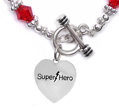 Super Hero, Red Crystal Bracelet, Hypoallergenic,No Nickel. Lead, Or Poisonous Cadmium  1910B16