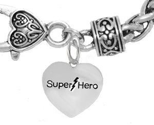 Super Hero Heart, Antique Wheat Chain Bracelet, Safe- No Nickel. Lead, Or Poisonous Cadmium. 1910B1