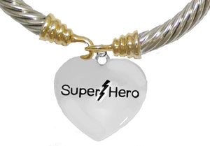 Super Hero Heart,Two-Tone Cable Bracelet, No Nickel. Lead, Or Poisonous Cadmium. 1910B24