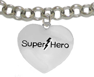 Super Hero Heart Charm, Adjustable Bracelet, No Nickel. Lead, Or Poisonous Cadmium 1910B2