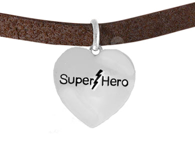 Super Hero On A Brown Suede Bracelet, No Nickel. Lead, Or Poisonous Cadmium 1910B4