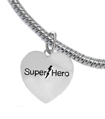 Super Hero Heart Charm, Elegant Antique Snake Chain Bracelet, No Nickel. Lead, Cadmium  1910B7