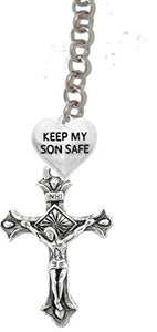 Keep My Son Safe, Heart, And A Crucifix, Through A Holy Trinity Adjustable Necklace, Nickel Free