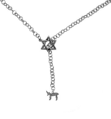 Jewish Chai, The Symbol of Life, Through A Star of David, Rolo Chain Necklace - Safe, Nickel Free
