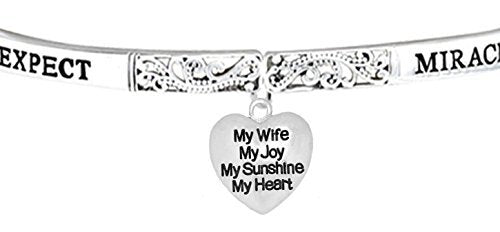 Expect Miracles, My Wife, My Joy, The Original Safe, Nickel Free Adjustable Stretch Bracelet