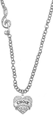 Choir Crystal Heart, Treble Clef Rolo Chain Adjustable Necklace, Safe - Nickel & Lead Free