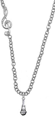 Singer, Microphone, Treble Clef Rolo Chain Adjustable Necklace, Safe - Nickel & Lead Free