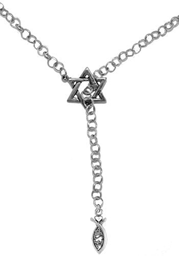Yeshua Messianic, Christian Ichthys, Jesus Fish Necklace - Safe, Nickel & Lead Free