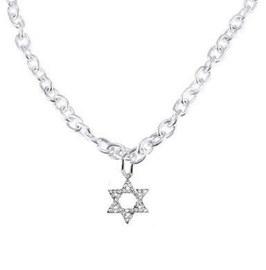Jewish Crystal Star of David On a Toggle Cable Chain Necklace, Safe - Nickel & Lead Free