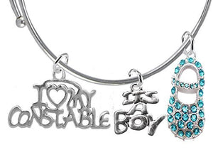 "Constable's Wife's Baby Shower Gifts, ""It's A Boy"", Adjustable Bracelet - Safe, Nickel & Lead Free"