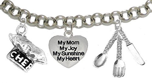 Cooking Jewelry, My Mom, My Joy, My Sunshine, My Heart, Chef Hat, Silverware, Adjustable Bracelet