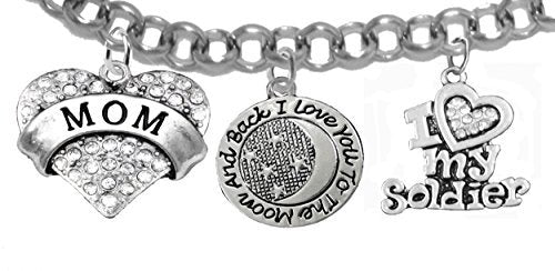 """army mom, """"i love you to the moon & back"""", crystal """"i love my soldier"""", rolo chain bracelet - safe"""