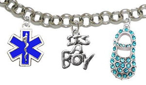 "EMT's Mom to Be, ""It's A Boy"", Bracelet, Hypoallergenic, Safe - Nickel & Lead Free"
