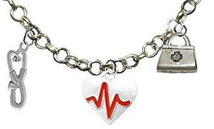 RN, Nurse, Heart with A Heartbeat, Adjustable Charm Necklace, Safe - Nickel & Lead Free
