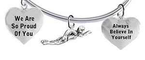 "We Are So Proud of You, Swimming"" 3 Charm Adjustable Bracelet, Safe - Nickel & Lead Free"