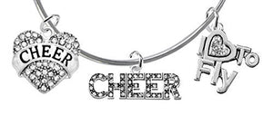 "Cheer Crystal Heart, Crystal Cheer, Crystal ""I Love to Fly"", Miracle Wire Cheerleader Bracelet"