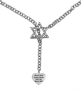 "Jewish ""Never Stop Trying, Never Give Up, Never Quit "" Heart, on Star of David, Necklace, Safe"