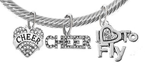 "Cheer Crystal Heart, Crystal ""I Love to Fly"", Crystal Cheer Banner, Genuine Cable Charm Bracelet"