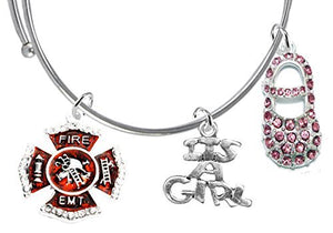 "EMT Firefighter's Wife's ""It's A Girl"", Adjustable Bracelet, Safe - Nickel & Lead Free"