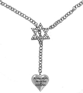 "Jewish Army Mom ""He's My Son and He's My Hero"", Heart, on Star of David, Rolo Chain Necklace"