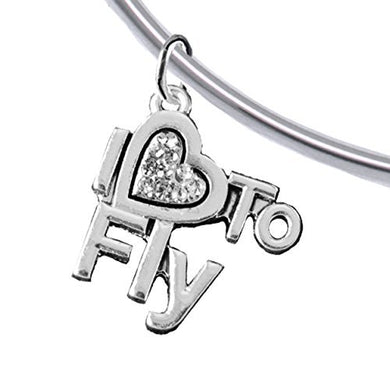 I Love to Fly, Adjustable, Charm Bracelet, Removable Ball, Add Charms Without Tools. Nickel Free