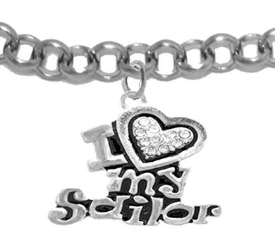 Navy, I Love My Sailor, Crystal Heart, Bracelet, Hypoallergenic, Safe - Nickel & Lead Free