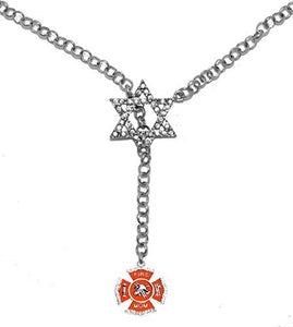 "Jewish Firefighter's ""Mom"", on Star of David, Necklace, Safe - Nickel & Lead Free"