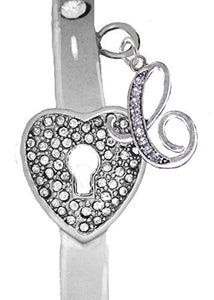 "It Really Locks! The Key to My Heart, ""Initial C"", Cuff Crystal Bracelet - Safe, Nickel & Lead Free"