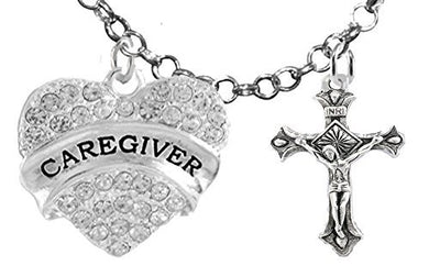 Caregiver, RN, Nurse, Crucifix Cross, Adjustable Charm Necklace, Safe - Nickel & Lead Free