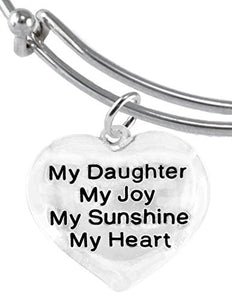 "Message Jewelry, My ""Daughter"", My Joy, My Sunshine, My Heart, Adjustable Miracle Wire Bracelet"