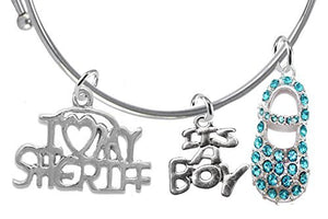 "Sheriff's Baby Shower Gifts, ""It's A Boy"", Adjustable Bracelet - Safe, Nickel & Lead Free"