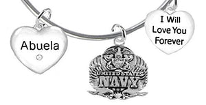 Abuela, I Will Love You Forever, Navy Hypoallergenic, Safe - Nickel & Lead Free