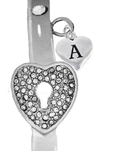 "It Really Locks! The Key to My Heart, ""Initial A"", Cuff Crystal Bracelet - Safe, Nickel & Lead Free"
