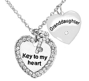 "Granddaughter ""Key to My Heart"" and ""Granddaughter Genuine Crystal Heart"", Adjustable Necklace"