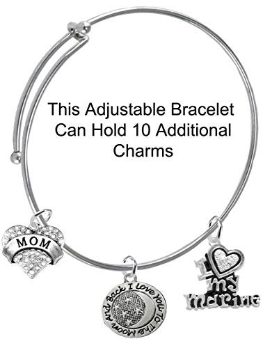 "marine ""mom"", ""i love you to the moon & back"", crystal i love my marine, miracle wire bracelet"