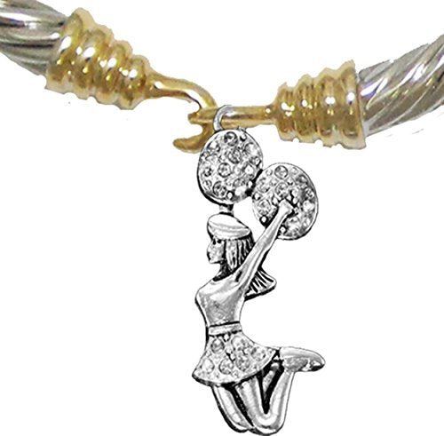 Cheer Crystal Jumping Cheerleader, Two Tone, Gold/ Silver Cheerleader Bracelet, Nickel & Lead Free