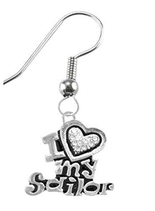 Navy, I Love My Sailor, Crystal Heart Earring, Hypoallergenic, Safe - Nickel & Lead Free
