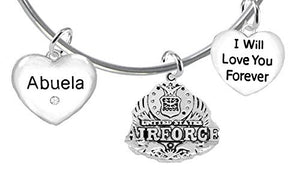 "Abuela, I Will Love You Forever, ""Air Force"", Safe - Nickel & Lead Free"