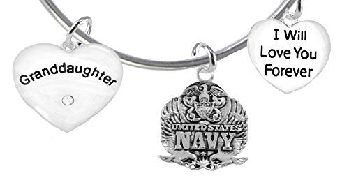 "granddaughter"", i will love you forever, navy, safe - nickel & lead free"