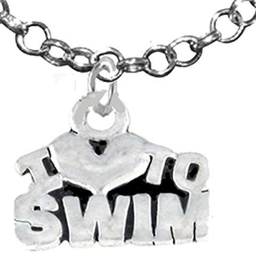 I Love Swimming Necklace, Hypoallergenic Safe - Nickel & Lead Free