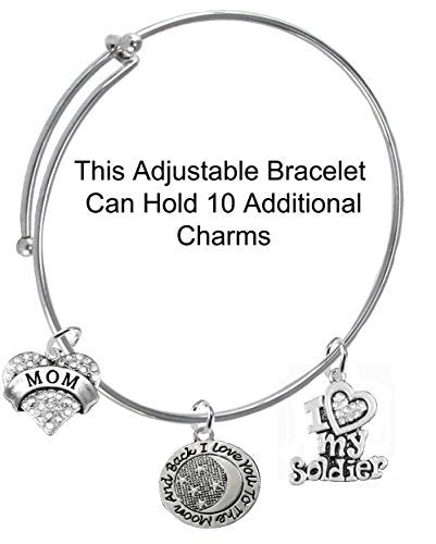 """army mom, """"i love you to the moon & back"""", crystal """"i love my soldier"""", miracle wire bracelet"""