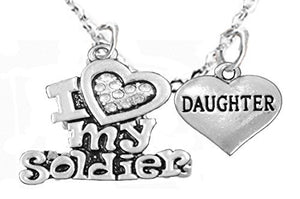 "Army ""Daughter"", Children's Adjustable Necklace, Hypoallergenic, Safe - Nickel & Lead Free"