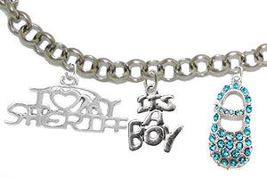 "Sheriff's Mom to Be, ""It's A Boy"", Bracelet, Hypoallergenic, Safe - Nickel & Lead Free"
