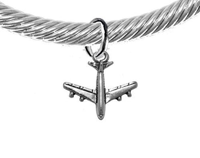 Jet Airplane, Hypoallergenic Genuine Cable with Crystal Ends Charm Bracelet, Nickel & Lead Free
