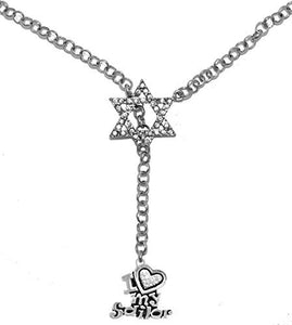 Jewish Navy, I Love My Sailor Crystal Heart on Star of David, Rolo Chain Necklace, Safe