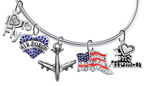 "air force, 5 charm bracelet, i love my airman, ""i love to fly"", jet, flag & heart, adjustable"