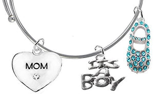 "Baby Shower Gifts, ""Mom"", ""It's A Boy"", Adjustable Bracelet, Safe - Nickel & Lead Free"