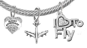 "Airline Flight Attendant, ""I Love to Fly"", Adjustable Cable Chain with Crystal Ends Charm Bracelet"