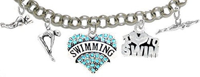 I Love Swimming 5 Charm Adjustable Bracelet - Safe, Nickel, Lead & Cadmium Free