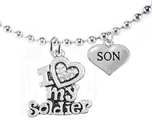 "Army ""Son"", Children's Adjustable Necklace, Hypoallergenic, Safe - Nickel & Lead Free"